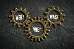Cogs with the words `who, how, what ` in German. Cogs with the words `who, how, what ` on slate background in German stock photography