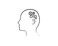 Cogs working in the brain. Royalty Free Stock Images