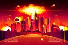 Cogumelo atômico da metrópole da cidade da explosão nuclear ilustração royalty free