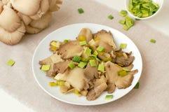 Cogumelo de ostra com o alho-porro na placa Fotografia de Stock