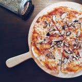 Cogumelo e Ham Pizza Fotografia de Stock