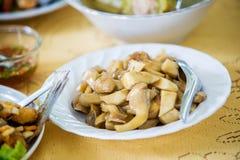Cogumelo fritado agitação com molho doce Alimento chinês no estilo tailandês Alimento famoso tailandês da rua Tailandês recomende Fotos de Stock
