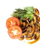 Cogumelo fritado dos cogumelos nos isolados brancos de um fundo fotografia de stock royalty free