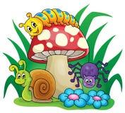 Cogumelo venenoso com animais pequenos ilustração do vetor