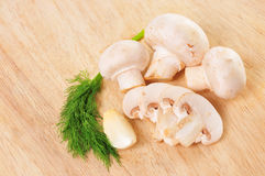 Cogumelos, aneto e alho Imagens de Stock Royalty Free