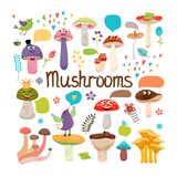 Cogumelos bonitos dos desenhos animados com caras Foto de Stock Royalty Free