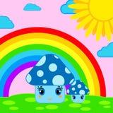 Cogumelos bonitos na perspectiva do arco-íris e do sol Fotografia de Stock