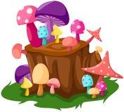 Cogumelos coloridos com coto de árvore Fotografia de Stock Royalty Free