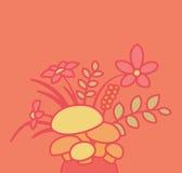 Cogumelos com grupo de flores e de plantas Foto de Stock Royalty Free