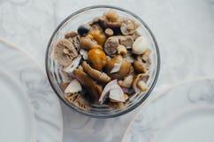 Cogumelos conservados no prato Imagens de Stock