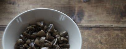 Cogumelos cortados preparados na placa branca no fundo de madeira áspero escuro, foto do alimento do estilo da vila fotos de stock royalty free