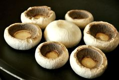 Cogumelos cozinhados na grade foto de stock