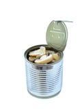 Cogumelos de botão enlatados na lata isolada no branco Imagens de Stock Royalty Free