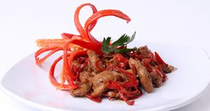Cogumelos de ostra deliciosos do alimento do vegetariano com pimentão vermelho fotos de stock royalty free