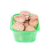 Cogumelos do cogumelo em uma caixa verde Foto de Stock Royalty Free
