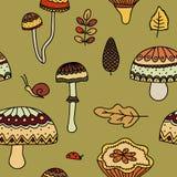 Cogumelos e folhas do amarelo Imagens de Stock