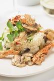 Cogumelos e galinha com risoto vegetal Fotografia de Stock Royalty Free