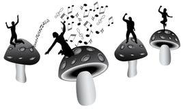 Cogumelos e música Fotografia de Stock Royalty Free