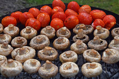 Cogumelos e tomates brancos do cogumelo na grade Fotografia de Stock Royalty Free