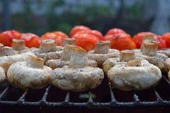 Cogumelos e tomates brancos do cogumelo na grade Imagens de Stock Royalty Free