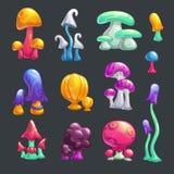 Cogumelos lustrosos do vetor da fantasia colorida dos desenhos animados ajustados ilustração royalty free