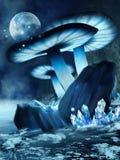 Cogumelos nevado e cristais ilustração do vetor
