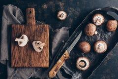 Cogumelos reais em um prato cerâmico e em uma placa de corte rústicos, fundo escuro Vista aérea, superior, configuração lisa fotos de stock royalty free