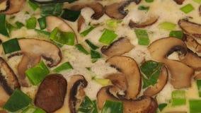 Cogumelos saborosos com cebolas da mola vídeos de arquivo