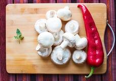 Cogumelos, salsa e pimenta de sino Foto de Stock Royalty Free