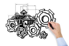 Cogwheel чертежа руки Стоковая Фотография RF