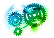 Cogwheel. As blue and green background Royalty Free Stock Photo