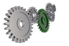 Цепь шестерни Cogwheel на белой предпосылке Стоковая Фотография RF