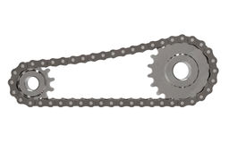 Cogwheel with chain. Chain with gear isolated on white background 3D rendering Stock Photography
