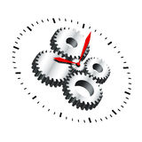 Cogwheel Clock. The clock and its cogwheel mechanism inside clock Royalty Free Stock Image