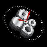 Cogwheel Clock. The clock and its cogwheel mechanism inside clock on black background Stock Photography