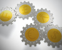 Cogwheel coins Royalty Free Stock Images
