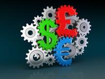 Cogwheel Currencies Stock Photography