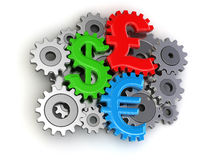 Cogwheel Currencies (clipping path included) Royalty Free Stock Images