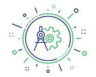 Cogwheel dividers line icon. Engineering tool sign. Vector. Cogwheel dividers line icon. Engineering tool sign. Cog gear symbol. Quality design elements vector illustration