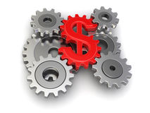 Cogwheel dollar (clipping path included) Stock Image