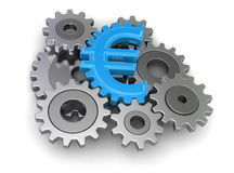 Cogwheel euro (clipping path included) Stock Photos