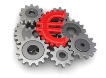 Cogwheel euro (clipping path included) Royalty Free Stock Photos