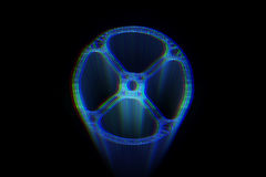 Cogwheel Gear in Hologram Wireframe Style. Nice 3D Rendering Royalty Free Stock Photography