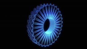 Cogwheel Gear in Hologram Wireframe Style. Nice 3D Rendering stock video footage