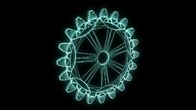 Cogwheel Gear in Hologram Wireframe Style. Nice 3D Rendering stock footage