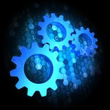 Cogwheel Gear Icon on Digital Background. royalty free illustration
