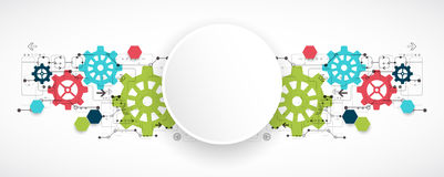 Cogwheel hi-tech digital technology and engineering background. Vector illustration. Cogwheel hi-tech digital technology and engineering background Stock Photos