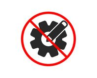 Cogwheel icon. Engineering tool sign. Edit settings. Vector. No or Stop. Cogwheel icon. Engineering tool sign. Edit settings symbol. Prohibited ban stop symbol royalty free illustration