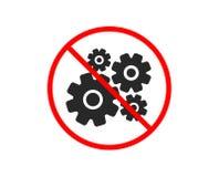 Cogwheel icon. Engineering tool sign. Vector. No or Stop. Cogwheel icon. Engineering tool sign. Cog gear symbol. Prohibited ban stop symbol. No cogwheel icon vector illustration