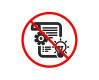Cogwheel icon. Engineering tool sign. Vector. No or Stop. Cogwheel icon. Engineering tool sign. Idea bulb symbol. Prohibited ban stop symbol. No cogwheel icon vector illustration